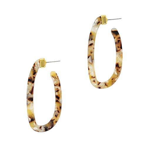 (And Lovely Tortoise Shell Resin Hoop Earrings - Oval Acetate Hoops - Lightweight Tortoise Earrings (White Tortoise))