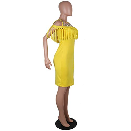 Mtydudxe Robe Dentelle Mini Moulante Yellow en BBwgF