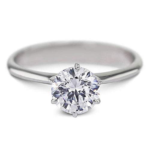 espere Platinum Plated Sterling Silver Round Cut 2ct Solitaire Engagement Ring 6 (Gold Six Prong Solitaire)