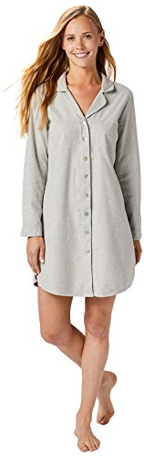 Coyuchi Women's Cloud Brushed Organic Flannel Sleepshirt, Large, Pale Gray Heather - Coyuchi Organic Cotton Flannel