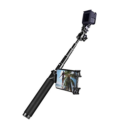 Extension Rod Pole Selfie Stick Handheld Grip 39 inches with Phone Holder & Tripod for GOPRO Hero 5 6 7 Black White DJI Osmo Action