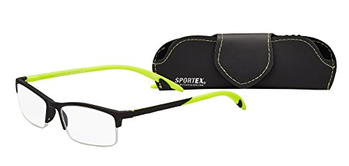 Sportex Readers Rectangular Reading Glasses Men's Semi-Rim, Sport Green, 1.25