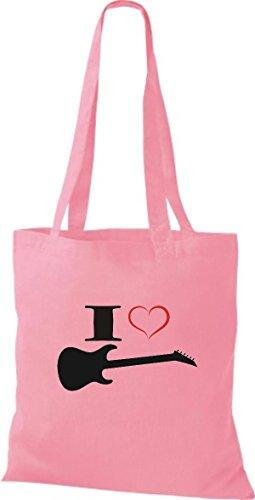 Électrique Tissu Shirtstown En Guitare I Love Rose Pochette Musique qwwUva