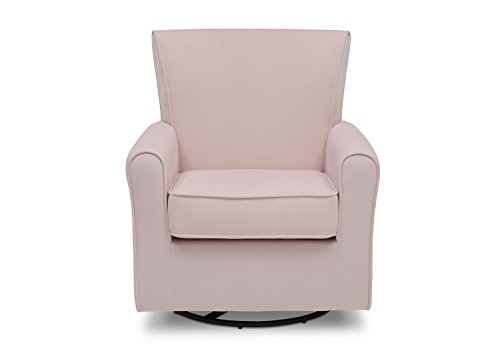 Delta Children Elena Nursery Glider Swivel Rocker Chair, Blush Velvet Velvet Fabric Upholstered Swivel Chair