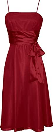 Chiffon Satin Dress Prom Formal Bridesmaid Holiday Party Cocktail, XS, red