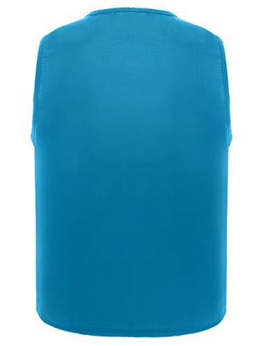 Toptie Mujer Camiseta Azul Sin Claro Mangas Para ZS0wPzZ
