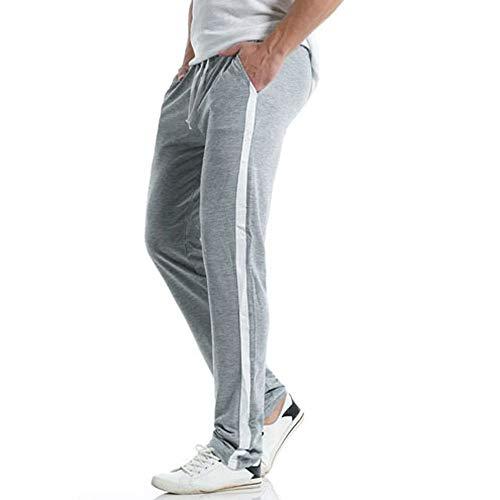(WOCACHI Clearance Sale Mens Sports Pants Stripe Sweatpants Elastic Casual Track Loose Trousers Winter Big Promotion Distressed Skinny Drop Autumn Sports Harem Pants (Gray, Medium))