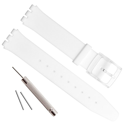 nt Waterproof Silicone Rubber Watch Strap Watch Band for Swatch Skin Series (16mm, White) ()
