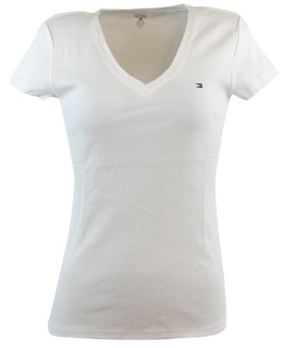 - Tommy Hilfiger Womens V-Neck Solid Color Logo T-Shirt - L - White