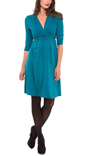 (Olian The V-neck Shirred Shoulder 3/4 Sleeve Rayon Knit Dress (Small, Teal))