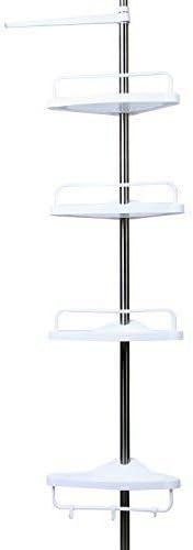 Homitex - Estantería esquinera para baño ajustable (4 niveles, 180 – 300 cm, organizador de almacenamiento, telescópica), color blanco