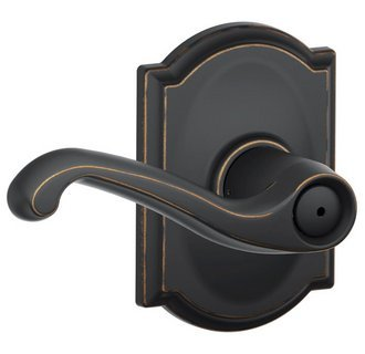 Schlage F40-FLA-716-CAM Aged Bronze Privacy Flair Style Lever with Camelot Rose ()