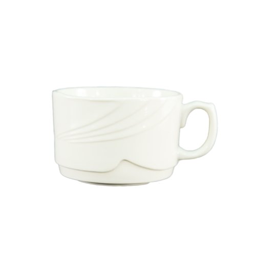 CAC China GAD-35 Garden State 3.5-Ounce Porcelain Round Stacking/Coffee Cup, 2-7/8 by 2-Inch, Bone White, Box of - 3.5 Porcelain Ounce