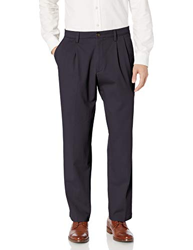DOCKERS Men's Classic Fit Easy Khaki Pants - Pleated D3, Navy (Stretch), 36 29