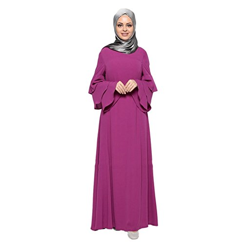 East Turkey larga Manga Apparel musulmán Maxi Boda de Arab Deylaying islámico Malaysia Túnica Morado suelta Kaftán Dubai Cóctel Robe noche Abaya Vestido Middle Mujer Vestido W8fWvPq