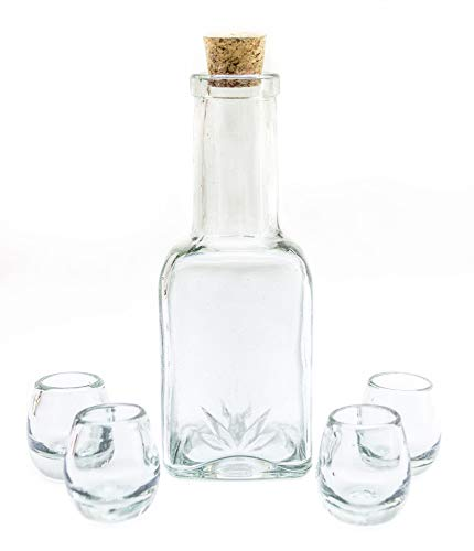 5-Piece Mexican Handblown Glass Bottle Decanter 25.3 Oz & Tequila Heavy Base Shot Glasses Set, Liquor Holder Drink Dispenser Agave Design and 4 Whiskey Vodka Wine Tots 2 Oz. Great for your outdoor bar
