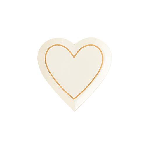 (Bridal Shower Bachelorette Party Plates Paper Plates Disposable Salad Plates, Dessert Plates for Cake Plates, Appetizer Plates Heart Shaped Gold Party Decorations 7 Inch Pk 16)