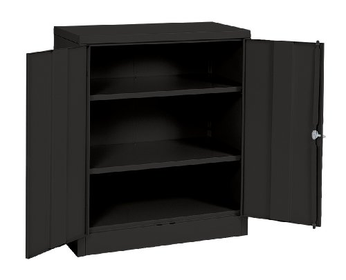 Sandusky Lee RTA7001-09 Black Steel SnapIt Counter Height Cabinet, 2 Adjustable Shelves, 42'Height x 36' Width x 18' Depth
