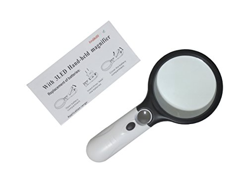 Ledhill 3-LED 45X Bifocal Inset with 4-inch Round 2.5X Handheld Magnifier Reading Magnifying Glass (Black with White) ()