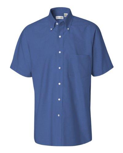 (Van Heusen Short Sleeve Oxford Shirt 13V0042 - English Blue - XX-Large)