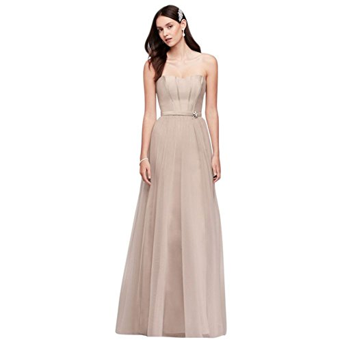 Bridesmaid s Tulle Strapless Extra 4XLOC290026 David Bridal Biscotti Length Long Mikado Style Dress R8TxZwq