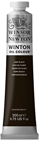 Winsor & Newton Winton Oil Paint Tube, 200ml, Lamp Black - 337 Lamp