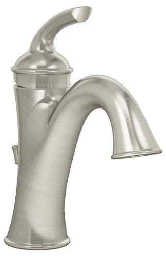 Symmons SLS-5512-STN Elm Single Hole Single-Handle Bathroom Faucet with Drain Assembly in Satin Nickel (2.2 GPM)