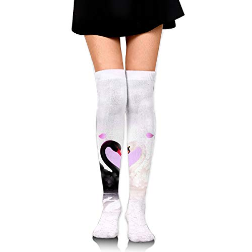 Black And White Swans Heart High Knee Socks For Boots Long Dress Compression Polyester Sox Leg Tube -
