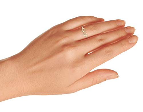 Minimalist Simple Midi Knuckle Thin 1MM Band Stackable Love Knot Infinity Ring For Teen 14K Gold Plated Sterling Silver