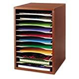 ** Wood Desktop Literature Sorter, 11 Sections 10 5/8 x 11 7/8 x 16, Cherry
