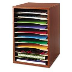 ** Wood Desktop Literature Sorter, 11 Sections 10 5/8 x 11 7/8 x 16, Cherry