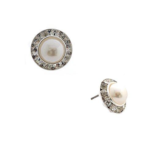 Bridal Earrings Silver Crystal Rhinestone Rondelle Circle Stud Earrings -