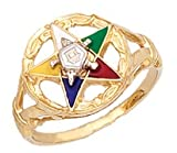 Ladies Vermeil Masonic Freemason Eastern Star Ring (Size 9)