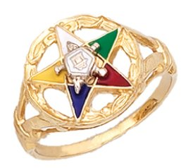 US Jewels And Gems Ladies Vermeil Masonic Freemason Eastern Star Ring (Size 9)