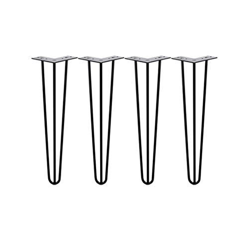 JJPJ123 Horquilla Patas Patas De Horquilla para El Cabello Patas De Mesa De Metal Resistentes para Bricolaje Patas De Mesa Altura De Mesa Estandar 28 Inches Negro 4 Pieza