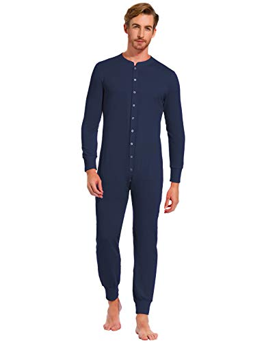 (Zexxxy Long Sleeve Pajamas for Men Plus Size Cotton PJ Set Union Suits Navy)