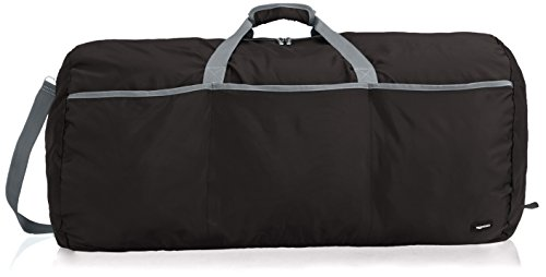 AmazonBasics Large Travel Luggage Duffel Bag - Black (Plastic Bags In Rolls)