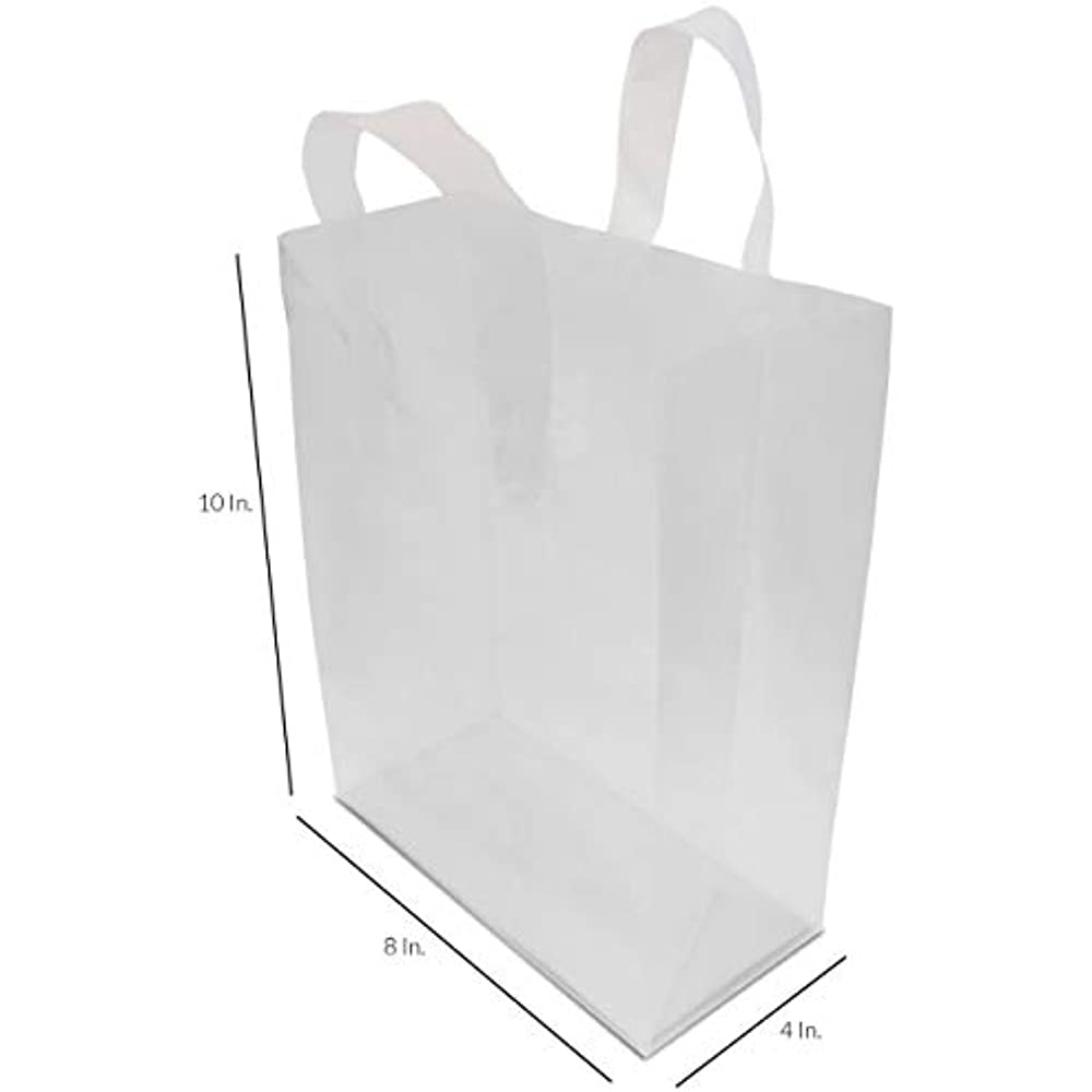 "8x4x10"" 100 Pcs. Frosted Clear Plastic Bags With Handles ..."