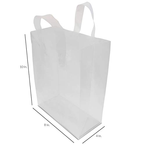 8x4x10'' 100 Pcs. Frosted Clear Plastic Bags with Handles, Shopping Bags, Gift Bags, Take Out Bags with Cardboard Bottom by Prime Line Packaging (Image #1)