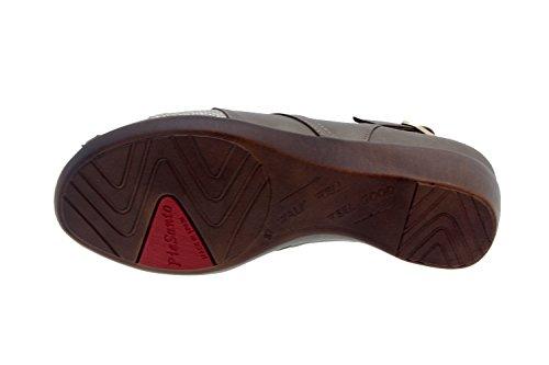 Calzado mujer confort de piel Piesanto 8156 sandalia plantilla extraíble zapato cómodo ancho Taupe