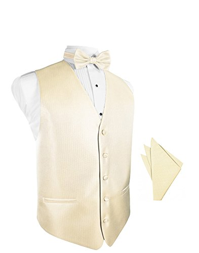 Sand Herringbone Tuxedo Vest with Bowtie & Pocket Square Set ()