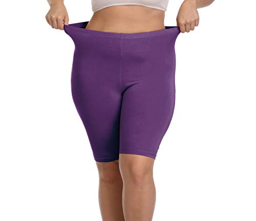 Cheapestbuy Women's Plus Size Ultra Soft Short Leggings Pants Lightweight Breathable Mid Thigh Stretchy Shorts Deep Purple (Best Shorts For Big Thighs Womens)