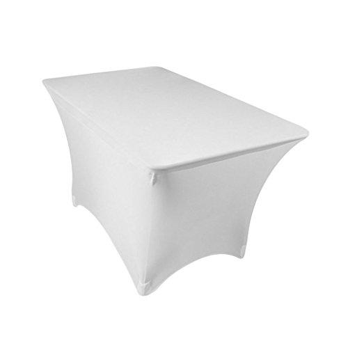 - GFCC 4FT White Rrectangular Stretch Tablecloth