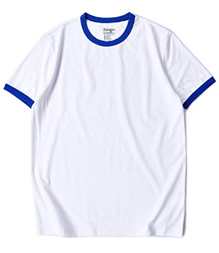 Zengjo Mens Athletic Shirts Ringer Tee Short Sleeve Crew Neck T Shirt (S, White/Royal Blue) (Blue Ringer)