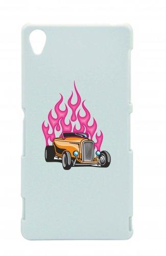 "Smartphone Case Apple IPhone 5/ 5S/ SE ""Klassik Hotrod in Orange mit pink Flammen America Amy USA Auto Car Luxus Breitbau V8 V12 Motor Felge Tuning Mustang Cobra"" Spass- Kult- Motiv Geschenkidee Oster"