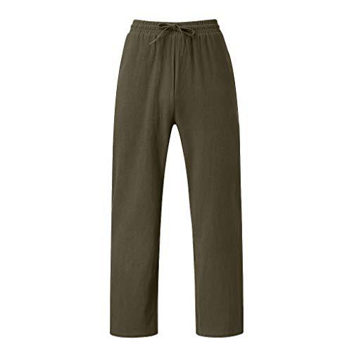 Aleola Men Summer Cotton Long Pants Solid color Casual Beach Pants (Green,XXXL)