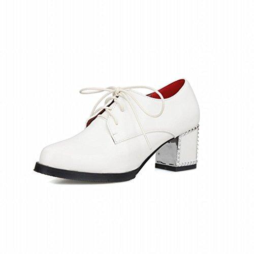 Carolbar Donna Stringate Moda Semplice Pu Metà Robusto Tacco Oxford Scarpe Bianche