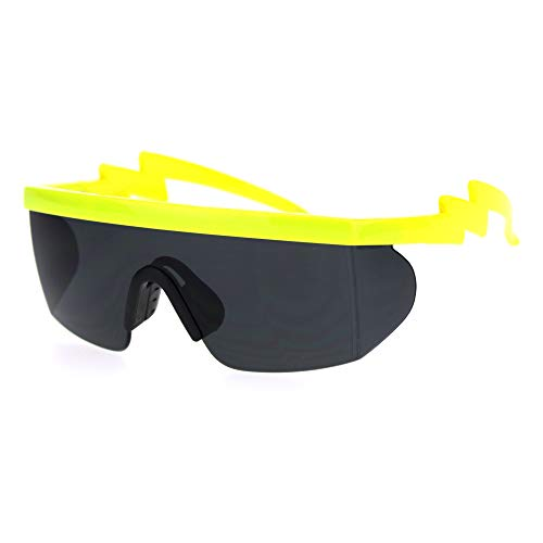 Flat Top Crooked Bolt Arm Goggle Style Color Mirror Shield 80s Sunglasses (Neon Yellow Black) ()