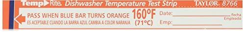 Taylor Precision 8766 TempRite Dishwasher Temp Strip - 25 / PK (Dishwasher Test Strips 160)