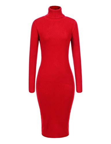 GLOSTORY Women's Long Sleeve Fall Winter Turtleneck Sweater Dress Mid Knee Length Slim Fit Bodycon Dresses 7628(S/M,Red)
